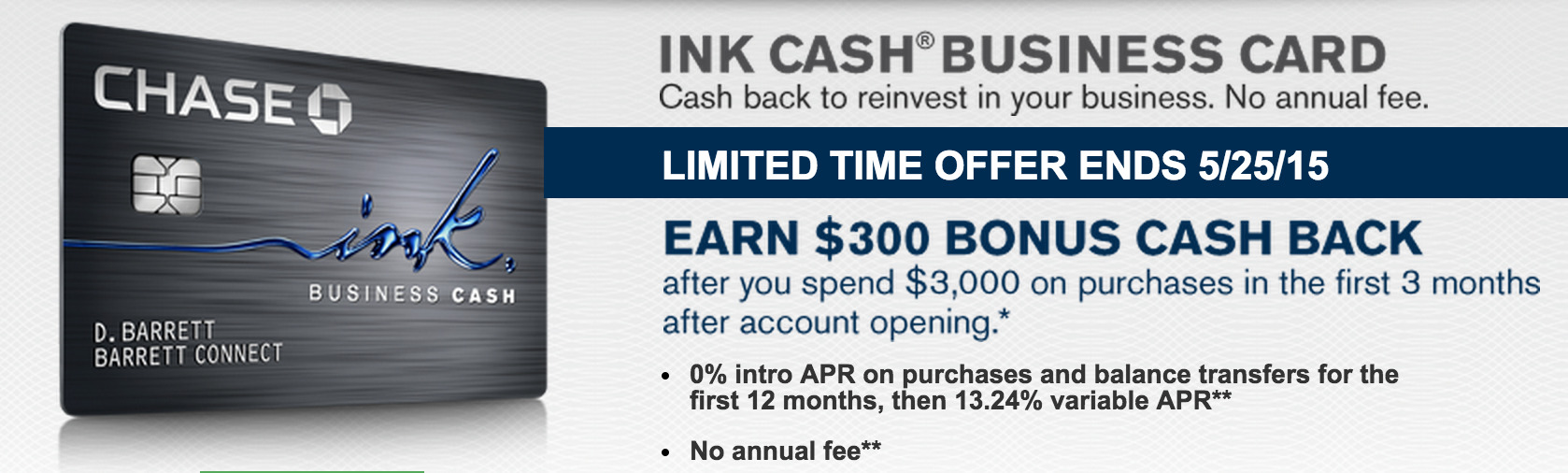 Chase Ink Cash $300 (30,000 UR Points) Offer And Ink Plus 60,000 ...